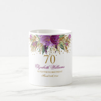 Floral Glitter Sparkling Amethyst 70th Birthday Coffee Mug