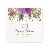 Floral Glitter Sparkling Amethyst 70th Birthday Napkin