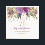"""Floral Glitter Sparkling Amethyst 70th Birthday Napkins<br><div class=""""desc"""">Matching Birthday Collection in the Little Bayleigh Store!</div>"""