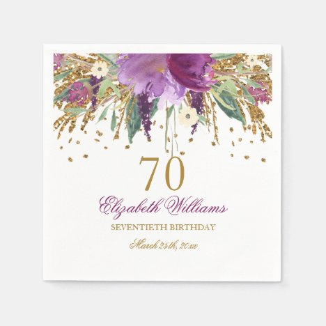 Floral Glitter Sparkling Amethyst 70th Birthday Napkins