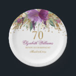 "Floral Glitter Sparkling Amethyst 70th Birthday Paper Plate<br><div class=""desc"">Matching Birthday Collection in the Little Bayleigh Store!</div>"