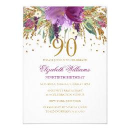 90th birthday invitations 1300 90th birthday announcements invites floral glitter sparkling amethyst 90th birthday card filmwisefo Choice Image