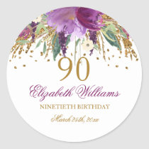 Floral Glitter Sparkling Amethyst 90th Birthday Classic Round Sticker
