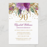 """Floral Glitter Sparkling Amethyst 90th Birthday Invitation<br><div class=""""desc"""">More floral birthday invitations in the Little Bayleigh store! We have used artwork from: www.createthecut.com</div>"""
