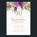 "Floral Glitter Sparkling Amethyst 90th Birthday Invitation<br><div class=""desc"">More floral birthday invitations in the Little Bayleigh store! We have used artwork from: www.createthecut.com</div>"