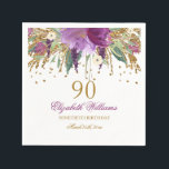 "Floral Glitter Sparkling Amethyst 90th Birthday Paper Napkin<br><div class=""desc"">Matching Birthday Collection in the Little Bayleigh Store!</div>"