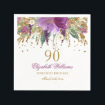 """Floral Glitter Sparkling Amethyst 90th Birthday Paper Napkins<br><div class=""""desc"""">Matching Birthday Collection in the Little Bayleigh Store!</div>"""