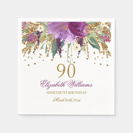 Floral Glitter Sparkling Amethyst 90th Birthday Paper Napkins