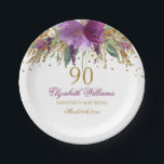 "Floral Glitter Sparkling Amethyst 90th Birthday Paper Plate<br><div class=""desc"">Matching Birthday Collection in the Little Bayleigh Store!</div>"
