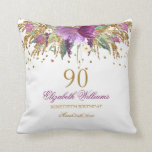 "Floral Glitter Sparkling Amethyst 90th Birthday Throw Pillow<br><div class=""desc"">Matching Birthday Collection in the Little Bayleigh Store!</div>"