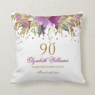 Floral Glitter Sparkling Amethyst 90th Birthday Throw Pillow