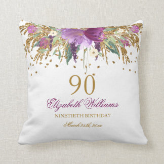Floral Glitter Sparkling Amethyst 90th Birthday Throw Pillow