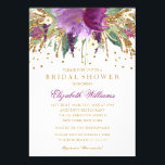"""Floral Glitter Sparkling Amethyst Bridal Shower Card<br><div class=""""desc"""">More floral bridal shower invitations in the Little Bayleigh store! We have used artwork from: www.createthecut.com</div>"""