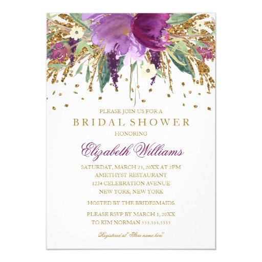 Floral Glitter Sparkling Amethyst Bridal Shower Invitation