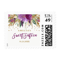 Floral Glitter Sparkling Amethyst Sweet 16 Stamp