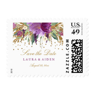 Floral Glitter Sparkling Amethyst Wedding Stamps