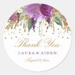 Floral Glitter Sparkling Amethyst Wedding Stickers