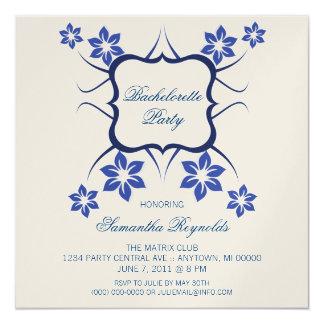 """Floral Goddess Bachelorette Party Invite Dark Blue 5.25"""" Square Invitation Card"""