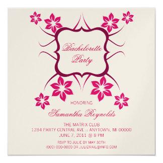 """Floral Goddess Bachelorette Party Invite Dark Pink 5.25"""" Square Invitation Card"""