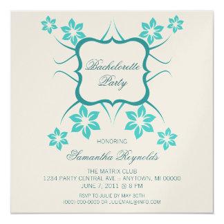 "Floral Goddess Bachelorette Party Invite Turquoise 5.25"" Square Invitation Card"