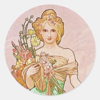 Floral Goddess Classic Round Sticker