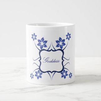 Floral Goddess Jumbo Mug, Blue Large Coffee Mug
