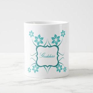 Floral Goddess Jumbo Mug, Teal Giant Coffee Mug