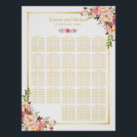 "Floral Gold | 20  Tables Wedding Seating Chart<br><div class=""desc"">================= ABOUT THIS DESIGN ================= Floral Gold 