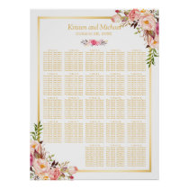 Floral Gold | 20  Tables Wedding Seating Chart