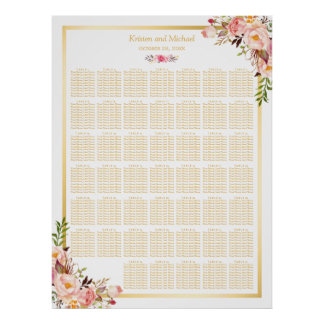 Floral Gold | 40+ Tables Wedding Seating Chart Poster