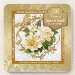 Floral Gold  50th Wedding Anniversary Coaster
