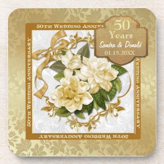 Floral Gold  50th Wedding Anniversary Drink Coaster
