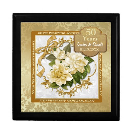 Golden Wedding Anniversary Gift Experiences : Floral Gold 50th Wedding Anniversary Jewelry Box Zazzle