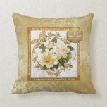 Floral Gold  50th Wedding Anniversary Throw Pillows
