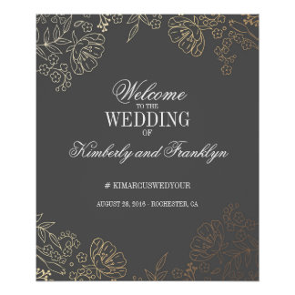 Floral Gold and Grey Vintage Wedding Welcome Sign
