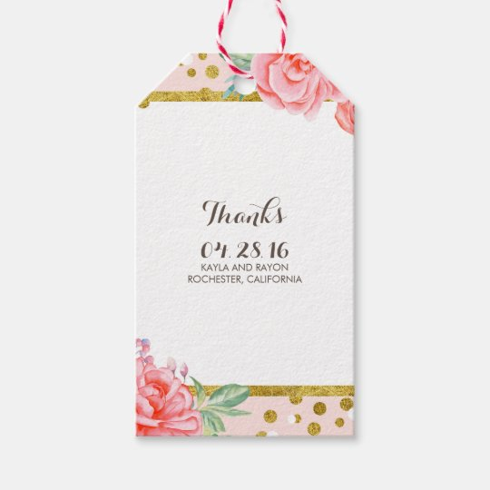 Fl Gold And Stripes Watercolor Pink Wedding Gift Tags