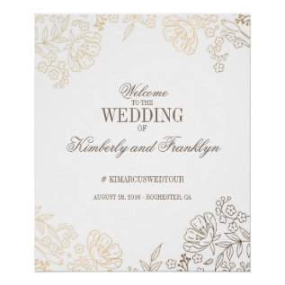 Floral Gold And White Vintage Wedding Welcome Sign at Zazzle