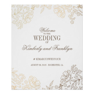 Floral Gold and White Vintage Wedding Welcome Sign Poster