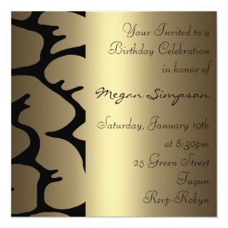 Floral Gold Birthday Invitation