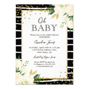 Black and white baby shower invitations announcements zazzle floral gold black white oh baby shower invitation filmwisefo