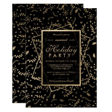 Professional Business Floral Gold black winter corporate holiday Card