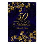 Floral Gold Blue 50 & Fabulous Thank You Card
