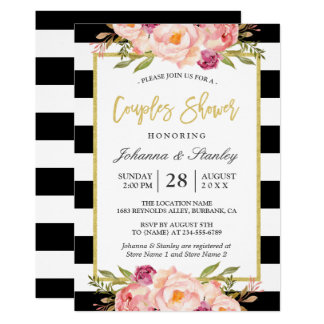 floral gold bw stripes wedding couples shower card