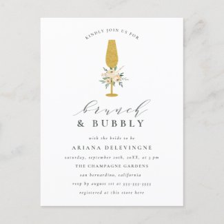 Floral Gold Champagne Flute Bridal Brunch & Bubbly Invitation Postcard