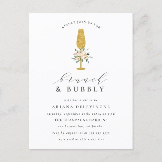 Floral Gold Champagne Flute Bridal Brunch & Bubbly Invitation Postcard