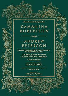 Fl Gold Emerald Green Wedding Invitation