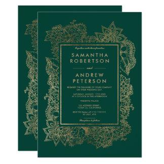 Floral gold emerald green wedding invitation