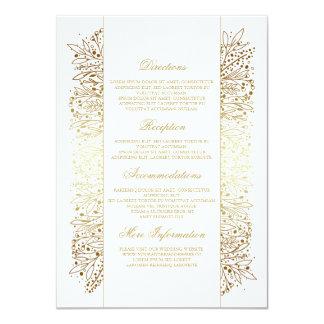 Floral Gold Filigree Imitation Wedding Details Card