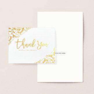 Floral Gold Foil Wedding Thank You Card
