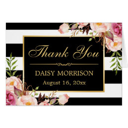 Floral Gold Frame Black White Stripes Thank You Card